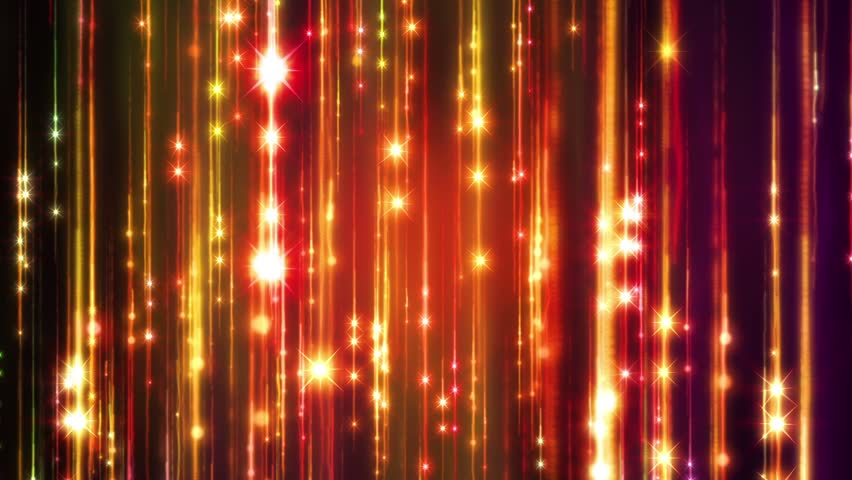Abstract motion golden colors background, shining lights, sparks and fireworks like particles, seamless loop able.