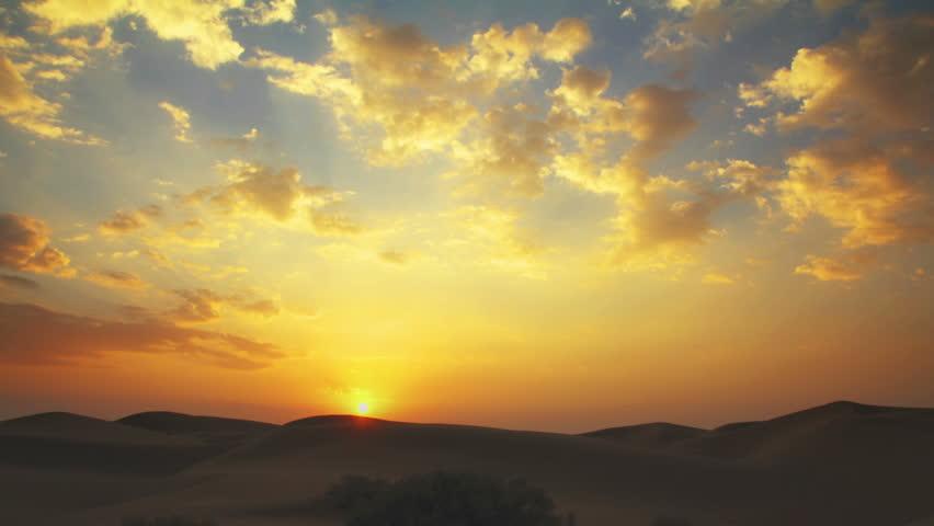 sunrise in Tar desert India - timelapse