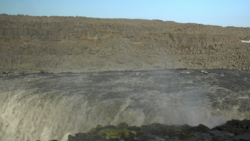 Pan over detifoss waterfall in iceland with colorful rainbow | Shutterstock HD Video #4912295