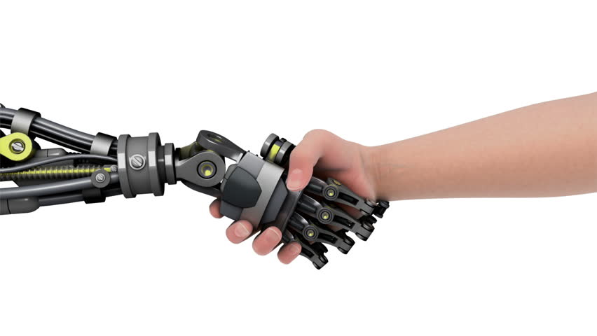 Shake Hands With A Robot Stock Footage Video 100 Royalty Free