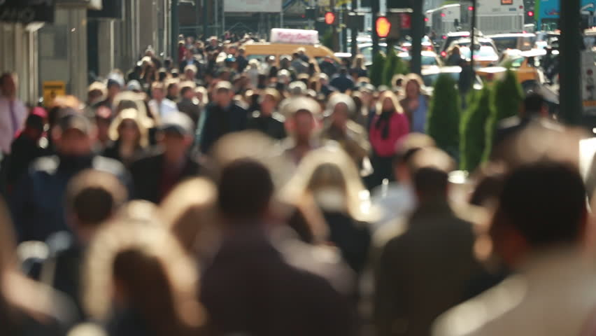 Anonymous crowd of people walking on busy New York City street | Shutterstock HD Video #4972424