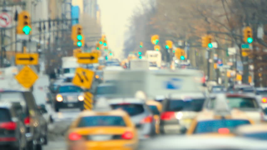Zooming New York City traffic time lapse shot.