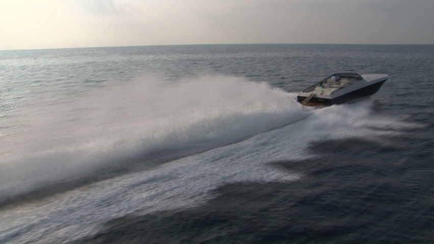 Aerial view of luxury sport boat sailing  #4988345