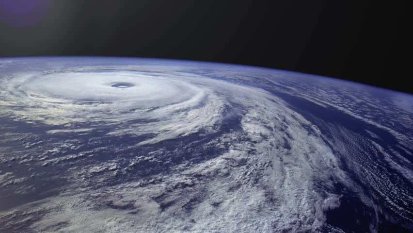 View of swirling hurricane from space