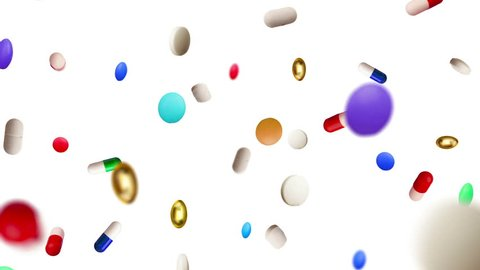 Colored Pills Raining Down Against a White Background. Camera flies  through the pills to reveal full screen white