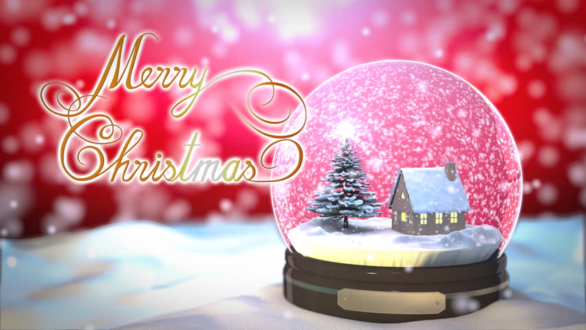 Christmas greetings free video clips 189 free downloads christmas snow globe snowflake with snowfall on red background m4hsunfo