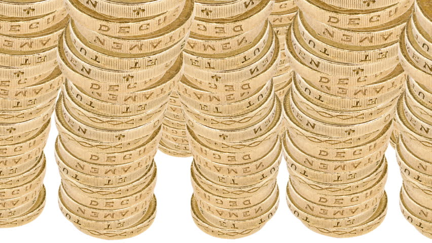 Animated stacks of British pound coins fill the frame, building up from left to right and back to front. Includes Alpha Matte.