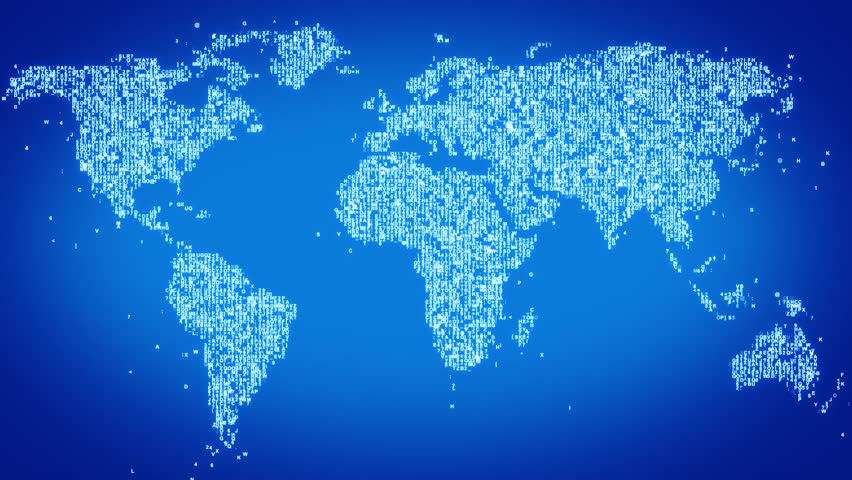 World map stock footage video shutterstock numbers and symbols form the world map blue tint more symbols and color backgrounds gumiabroncs Gallery