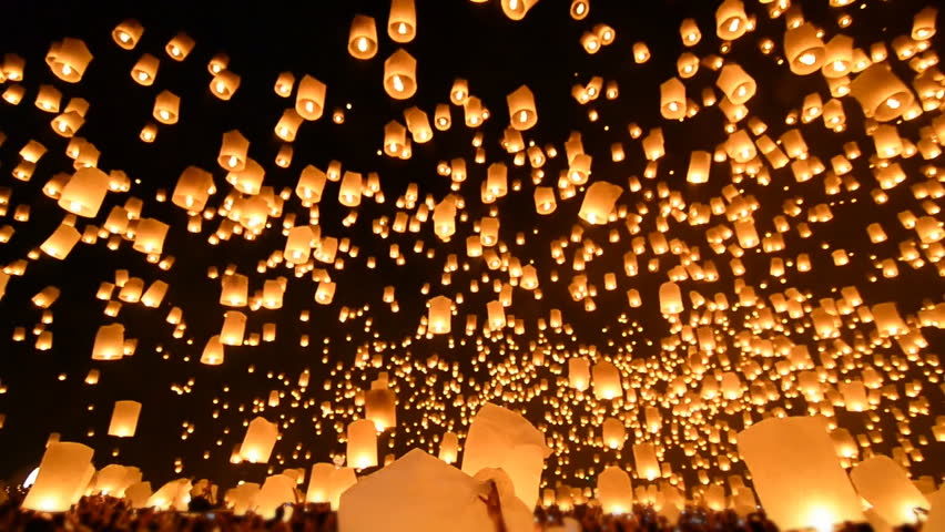 Loi Krathong Festival And Many Fire Lanterns Floating Of Chiang Mai Thailand