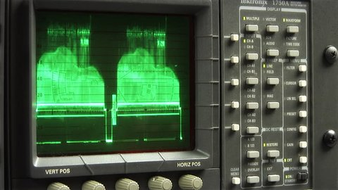 This high definition footage is of a working oscilloscope display