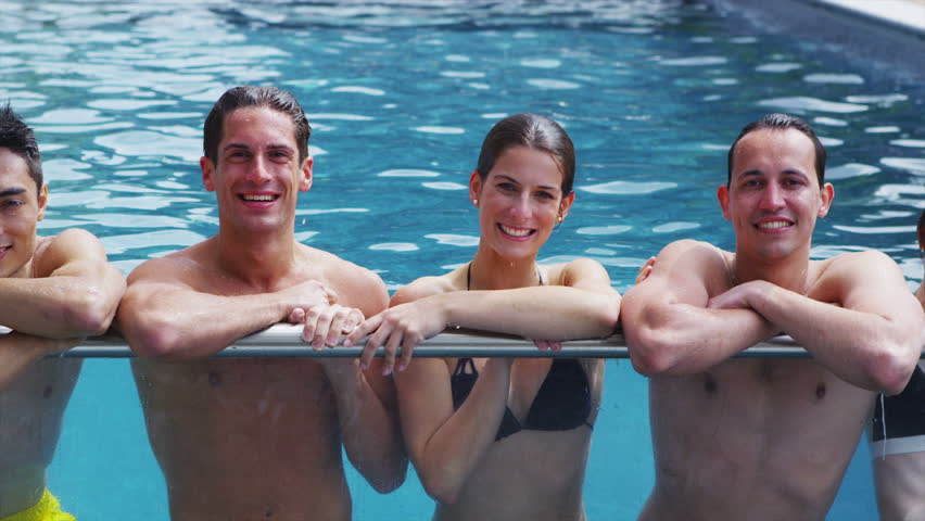 swimming pool with friends. Exellent Swimming Athletic Group Of Attractive Young Friends Swim Underwater In Swimming Pool  Then Come Up To The  For Swimming Pool With Friends N
