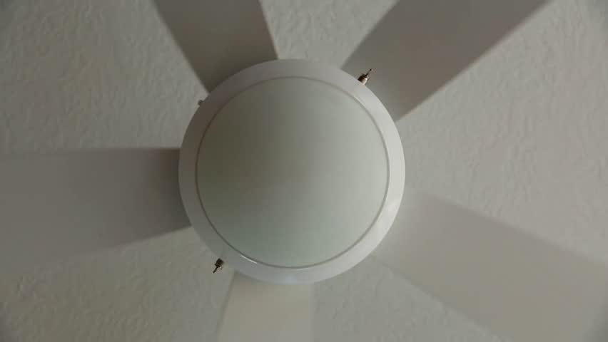A ceiling fan inside a home