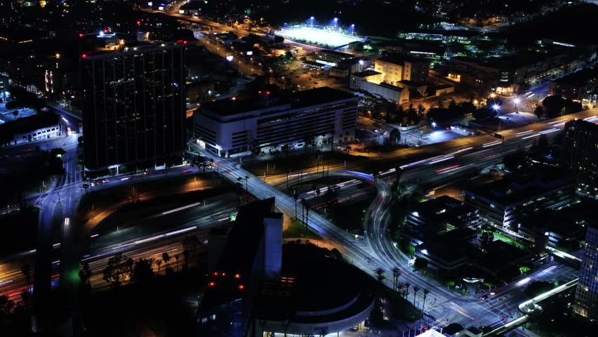 4K Night Cityscape Timelapse 142 Los Angeles Freeway Traffic Loop