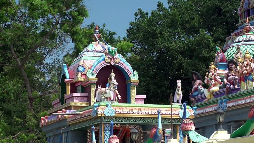 Pantheon of Hindu Gods at the modern Hindu Temple.