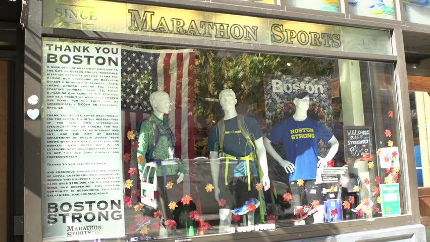 BOSTON, MA - SEPTEMBER 3 : Marathon Sports store in downtown, location of Boston Marathon Bombing on April 15, 2013, taken September 3, 2013 in Boston, Massachusetts.