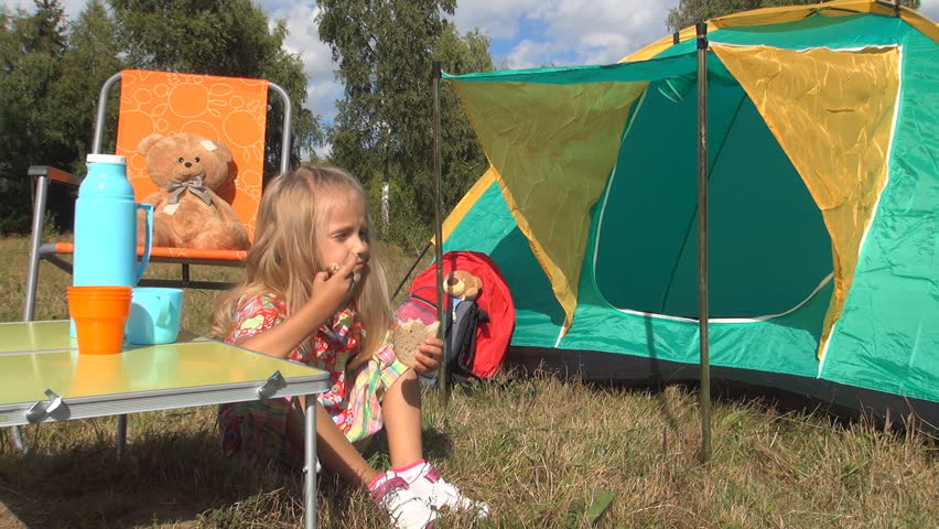 Child Eating Sandwich By Tent In C&ing Little Girl In Trip At C&ing Mountains Children Outing Stock Footage Video 5189885 | Shutterstock  sc 1 st  Shutterstock & Child Eating Sandwich By Tent In Camping Little Girl In Trip At ...