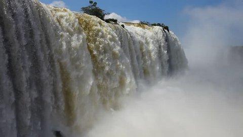 The Iguazu Falls on the border of Brazil and Argentina
