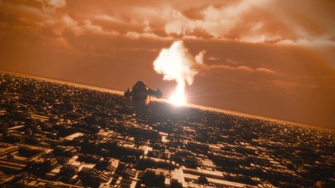 A spaceship escapes from a catastrophe.