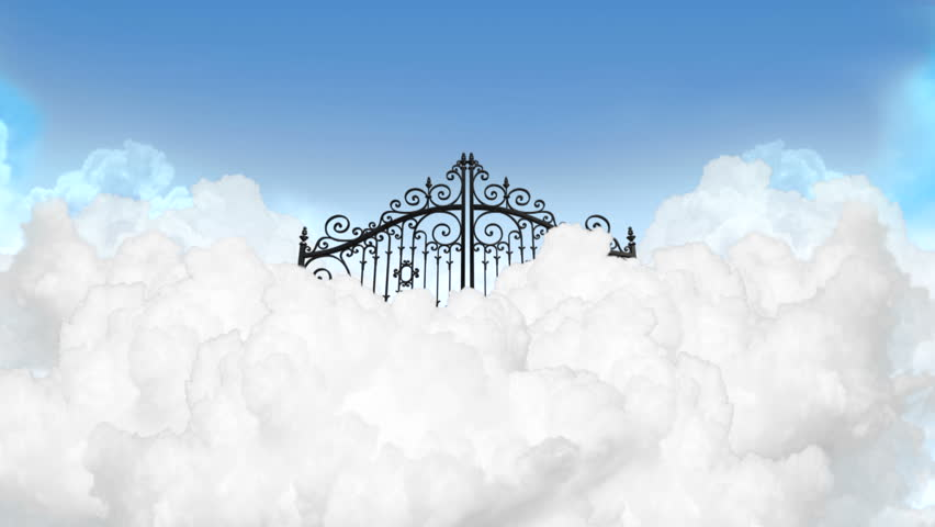 A slow zoom depiction of the gates to heaven in the clouds shut under a clear blue sky background