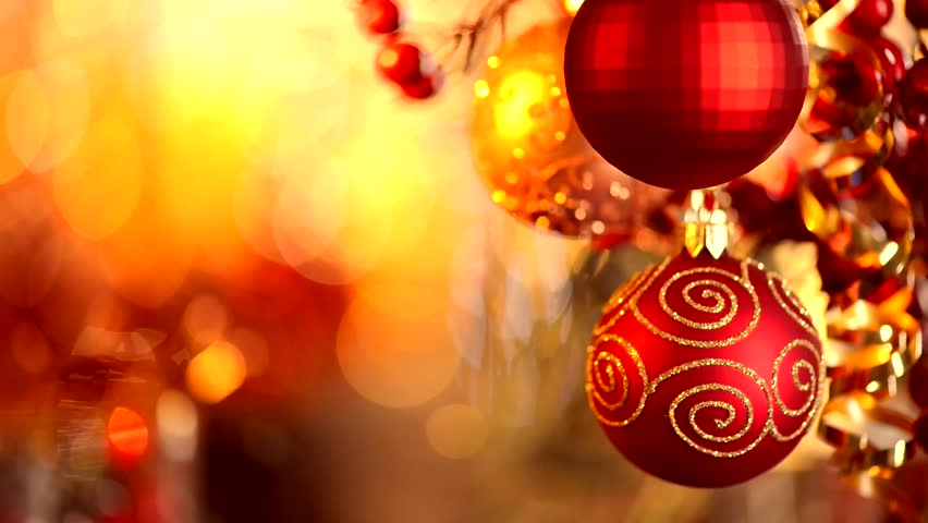 Christmas and New Year Decoration. Hanging Baubles close up. Abstract Blurred Bokeh Holiday Background. Blinking Garland. Christmas Tree Lights Twinkling. | Shutterstock HD Video #5241572