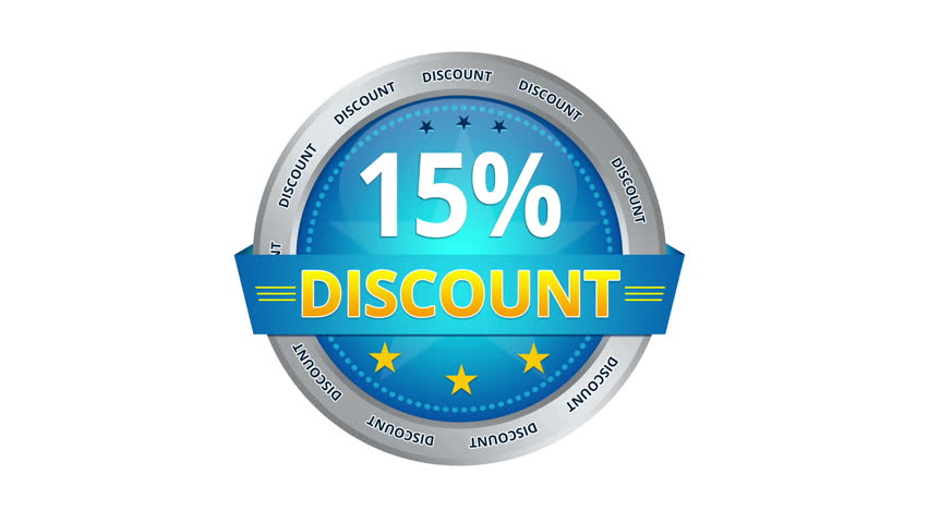 Blue animated 15 percent discount icon   Shutterstock HD Video #5241968