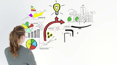 Colored animation showing business plan and a businesswoman on white background