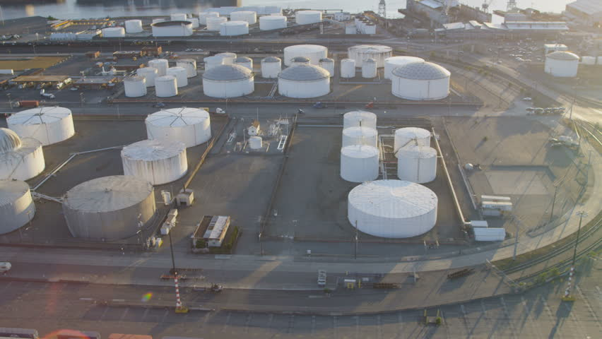 Seattle - July 2013: Aerial view of commercial Storage tanks nr large Rail freight yard, Seaport, Pacific Northwest