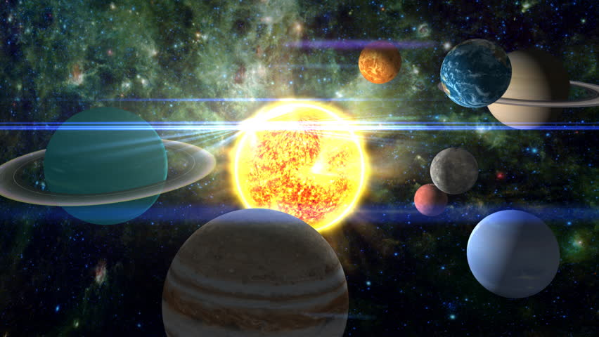 A surreal, moving shot around and through all the planets of the solar system, scattered around the burning sun. Texture maps and space images courtesy of NASA (www.nasa.gov)