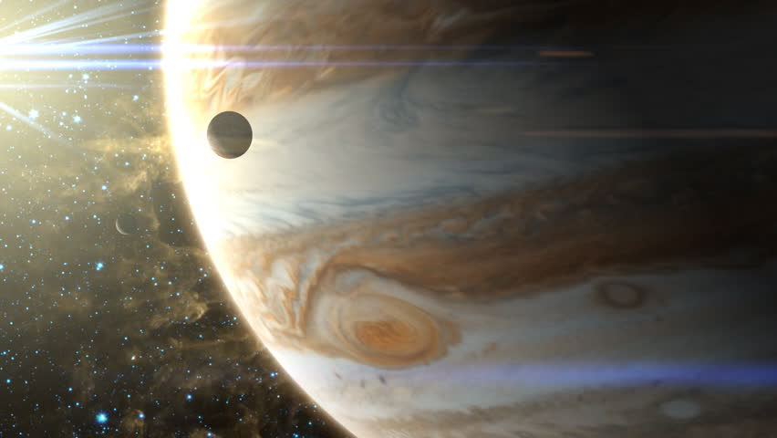 Two moons pass in front of Jupiter, with it's swirling storms and changing atmosphere. Includes lens flare, nebulas in the background. Texture maps and space images courtesy of NASA (www.nasa.gov)