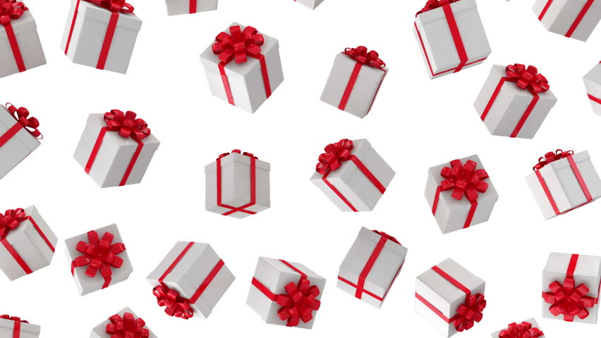 Red Gifts On White Background Holiday 3d Animation Stock