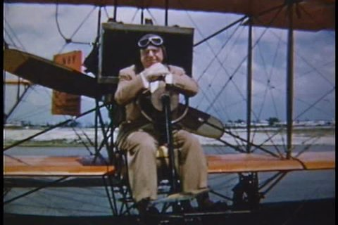 Arthur Godfrey talks about the history of flying in 1953 and demonstrates the Wright Brothers plane.