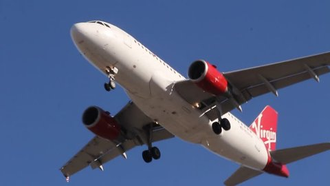 DECEMBER 23, 2013: Incoming flight of Vrgin Airlines at LAX Christmas eve eve December 23, 2013 Los Angeles, CA.