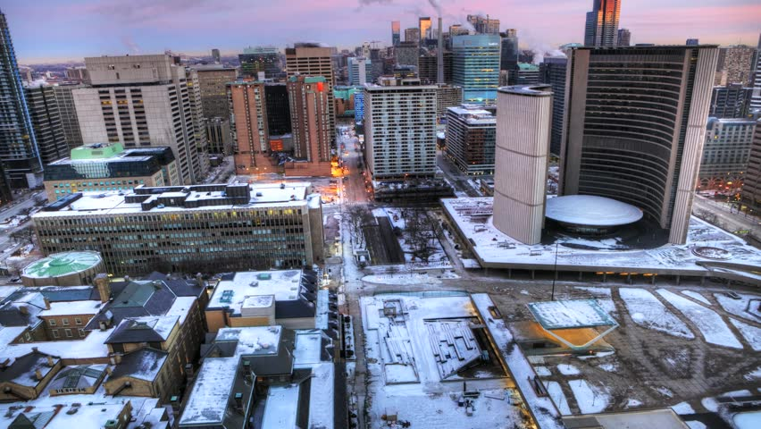 A timelapse aerial view of Toronto City Hall, Canada