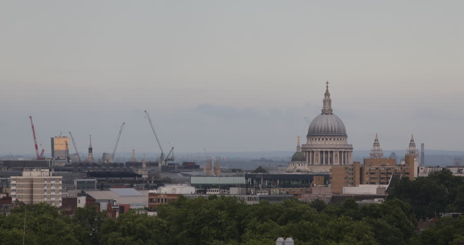 Aerial View of City London Skyline Cityscape with St. Paul Catholic Cathedral Religion Building ( Ultra High Definition, Ultra HD, UHD, 4K, 2160P, 4096x2160 ) | Shutterstock HD Video #5335775