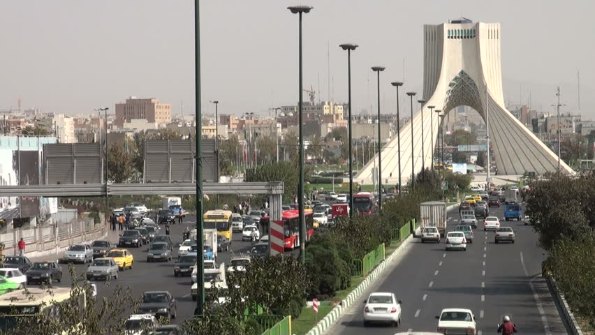 TEHRAN, IRAN   20 OCTOBER 2013: Busy Traffic Lanes To And From The Azadi