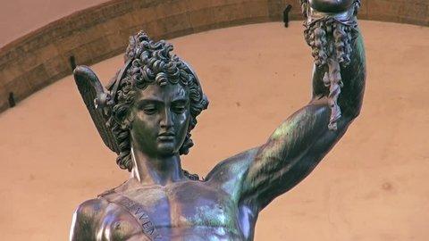 Statue of Perseus with the head of Medusa in Loggia dei Lanzi, Piazza della Signoria, Florence, Italy.