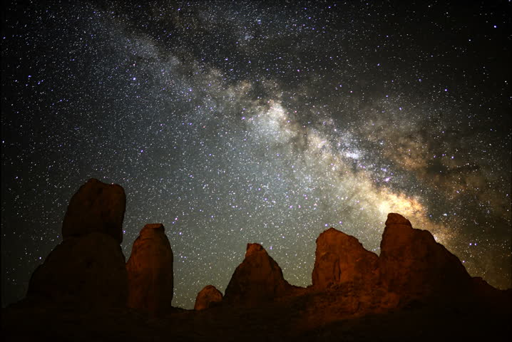 4K Astro Time Lapse of Milky Way Galaxy over Pinnacles during Sunrise -Full Frame-