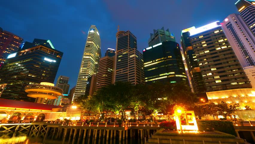 Singapore at night. 4k UHD, hyperlapse
