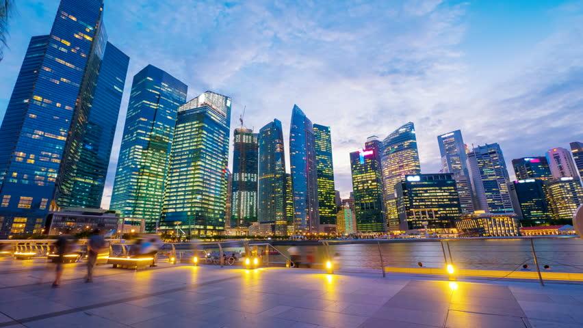 Singapore, Sunset at Marina bay quay. 4k UHD, hyperlapse