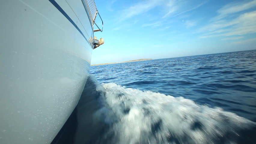 View from side of moving sailing boat on Adriatic sea in Croatia