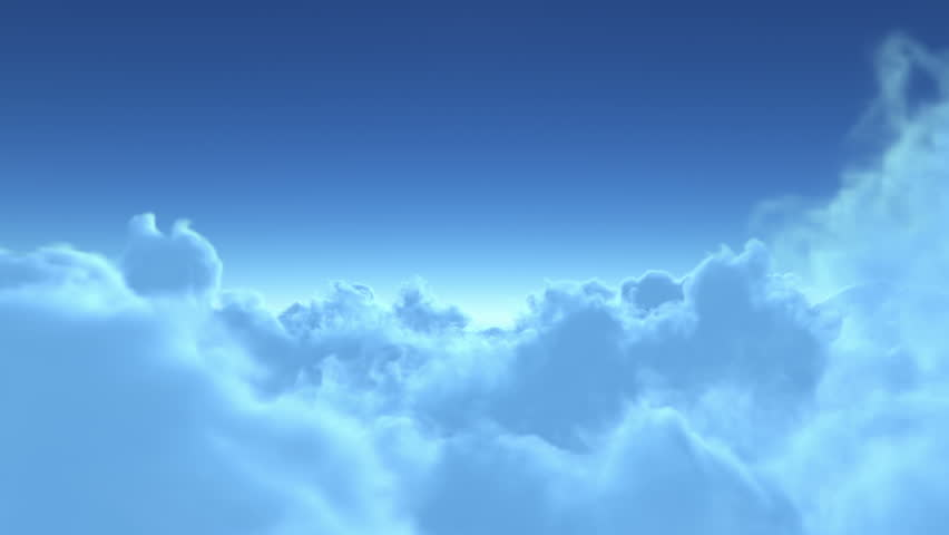 flight over the clouds. 3d animation, seamless loop (version without the sun) 4K