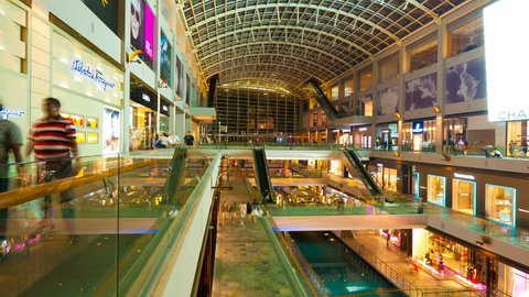 SINGAPORE - MAY 7, 2012: 4k UHD, hyperlapse. People in the mall The Shopps at Marina Bay Sands.