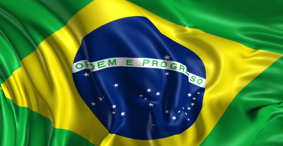 Flag of Brazil Beautiful   3d animation of Brazil flag in loop mode