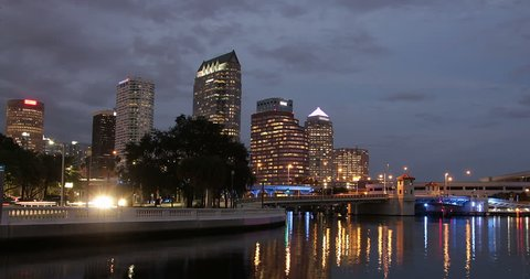 Time lapse of downtown Tampa, Florida from dusk to night.