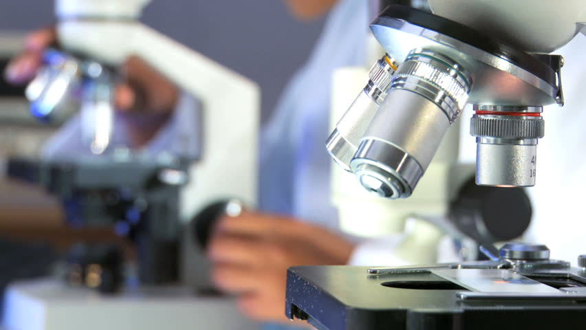 Researchers working in lab with microscope, close up