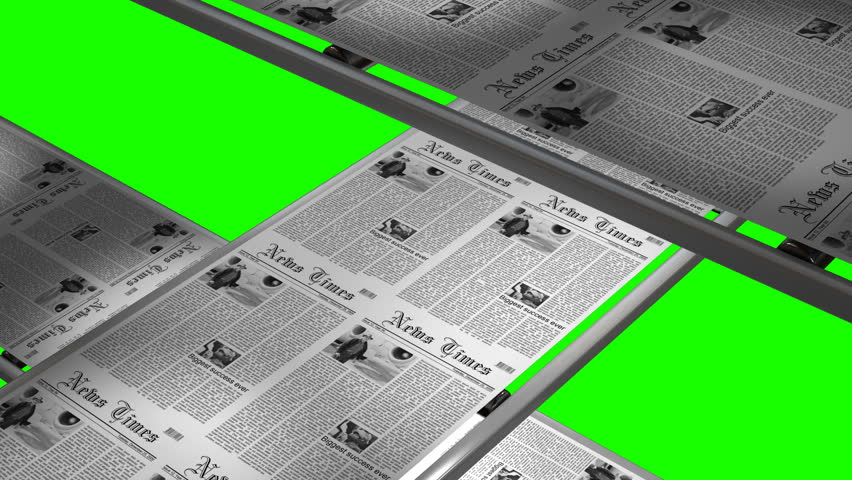 Newspaper press printing latest edition with green screen - seamless loop