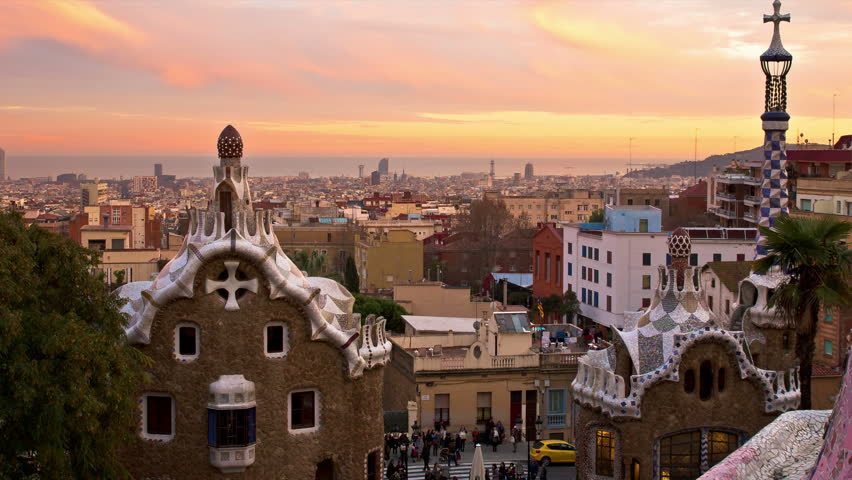 barcelona skyline  view from parc guell 4k resolution,time lapse from sunset to night with the city lighting up