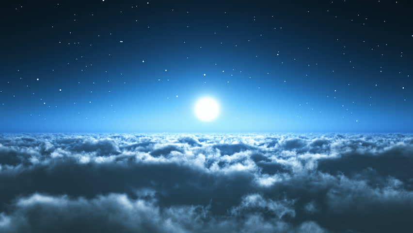 Scenic view of night flight above the clouds with full moon and dark blue sky with stars at the midnight