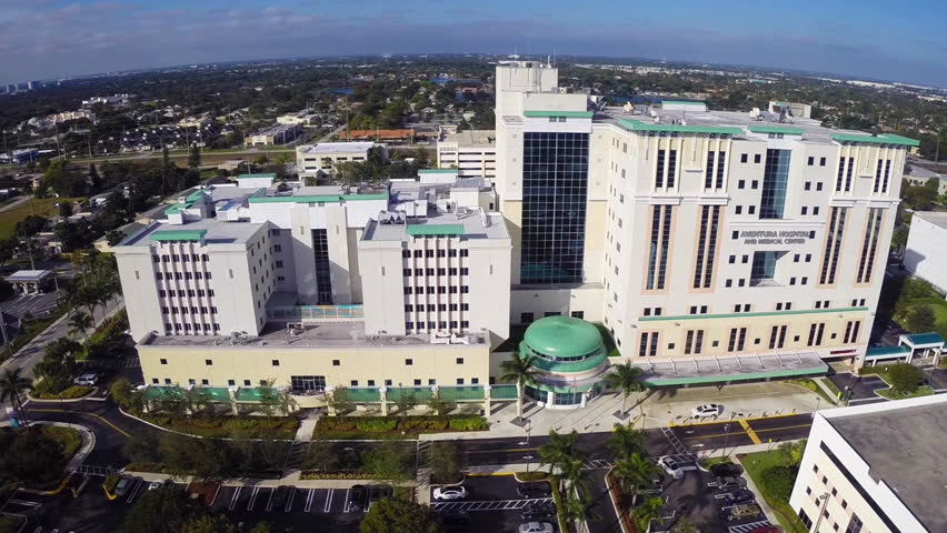 AVENTURA - JANURAY 12: Aerial video of Aventura Hospital January 12, 2013 in Aventura, USA. Aventura Hospital is an accredited patient care facility providing cancer services, medical and emergency.