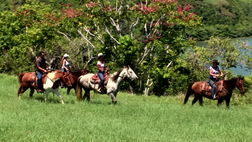 Kauai, Hawaii - May 2012: Vacationers take a horseback tour along the coastline of the northern shores of Hanalei Bay.